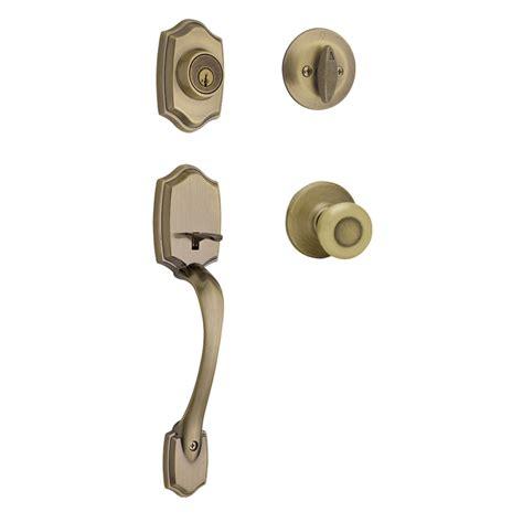 kwikset front door hardware shop kwikset belleview smartkey antique brass single lock