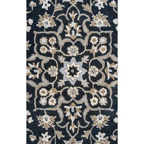 Black Floral Area Rugs Rizzy Home Valintino Black Floral Tufted Wool 8 Ft X 10 Ft Area Rug Vntvn953400160810