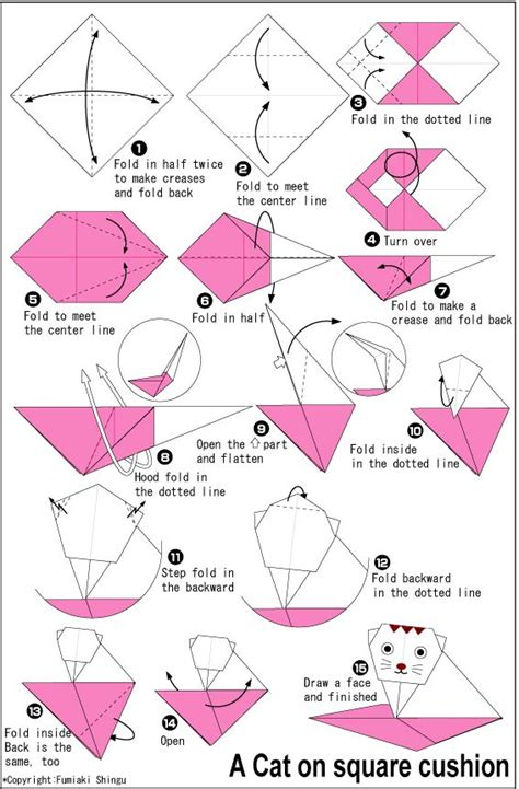 Origami Cat Diagram - origami cat on square cushion origami