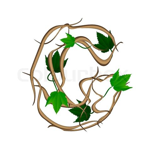 one letter of the alphabet vector tree branches stock