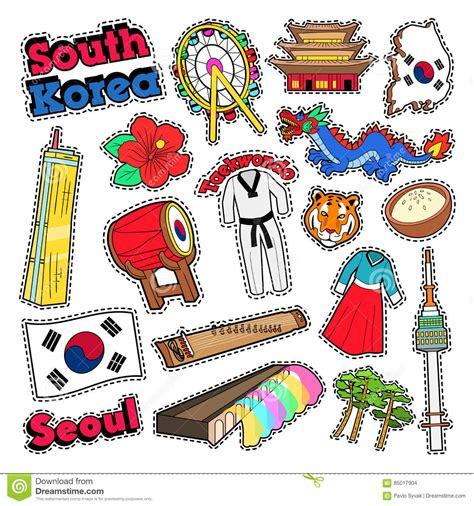 doodle 4 korea south korea travel elements with architecture stock vector