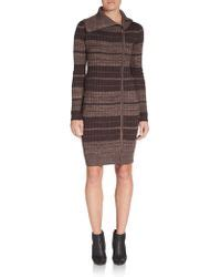 Dress Stripe Dress Qi qi camel striped cotton knit sweater dress in