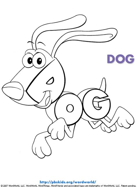 word coloring pages printable wordworld printable coloring pages dog pbskids