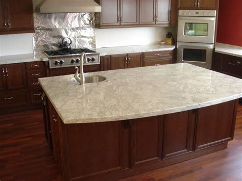 Cherry Cabinets With White Countertops by Andromeda White Granite Kitchens