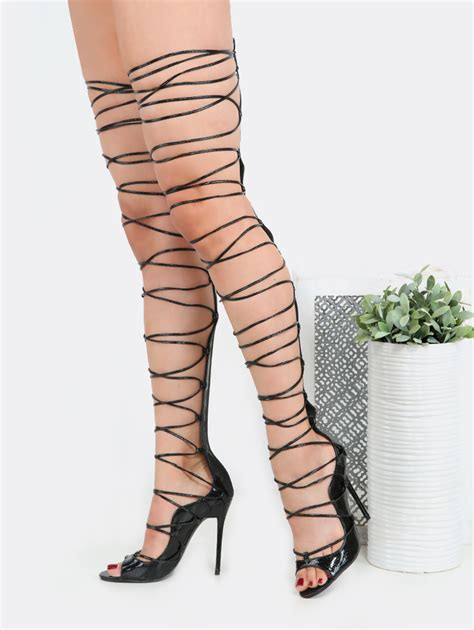 laced up high heels lace up snake thigh high heels black makemechic