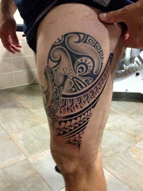 mata tiki tattoo moorea tatuajes moya pierna pantorrilla polinesios mata tiki