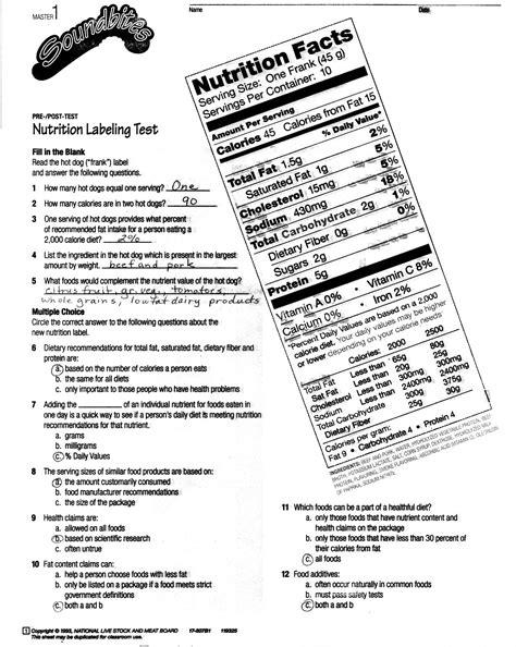 printable nutrition quiz nutrition labels worksheet worksheets releaseboard free