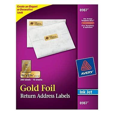 avery foil mailing labels 3 4 x 2 avery 174 8987 gold foil inkjet return address labels 3 4 quot x