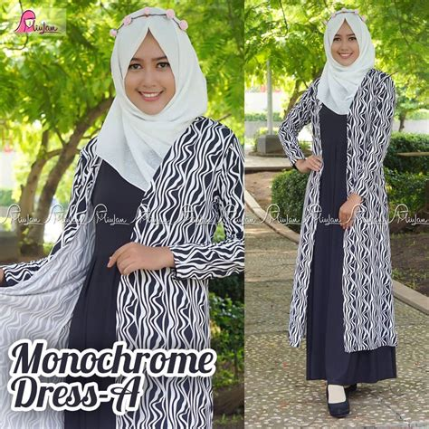 Monochrome Dress By Miulan gamis monocrome a pusat modern