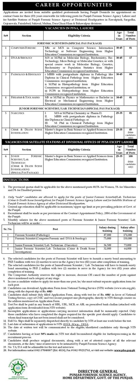 nts test pattern for jobs punjab forensic science agency jobs 2018 nts test