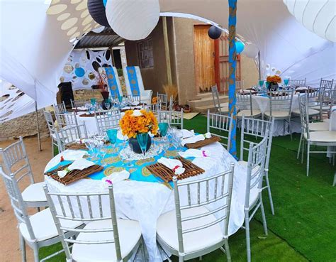 Turquoise blue Venda traditional wedding decor at Shonga
