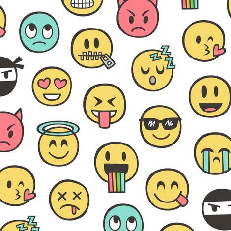 doodle emoticon smiley emoticon emoji doodle on white fabric caja design