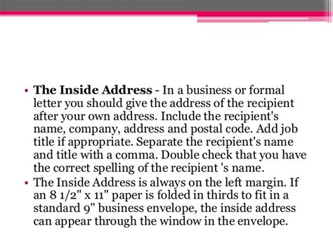 formal business letter inside address the business letter