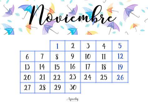 Calendario 2017 Noviembre Aparty Noviembre 2016