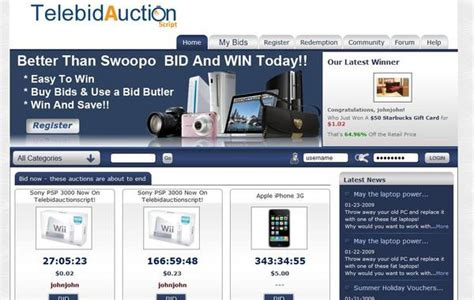 pay to bid auction new telebidauction clone 2011 swoopo clone php