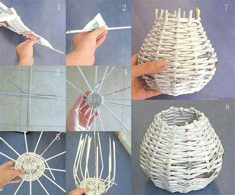 How To Make Paper Out Of Magazines - basket woven from magazines and newspapers diy