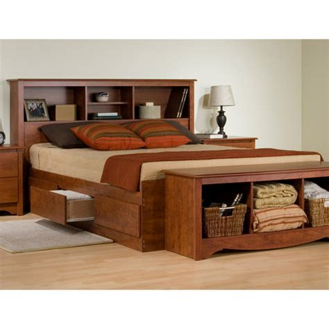 monterey wood storage platform bed w bookcase headboard