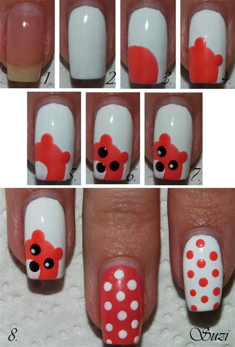 tutorial nail art designs cute bear nail art diy alldaychic