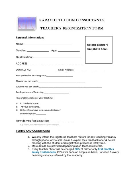 tutor contract template registration form