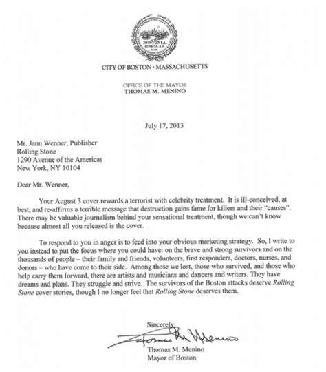 boston mayor menino writes letter to rolling stone