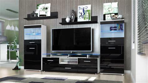 wall unit living room furniture almada v2 in white black wall unit living room furniture almada white high gloss