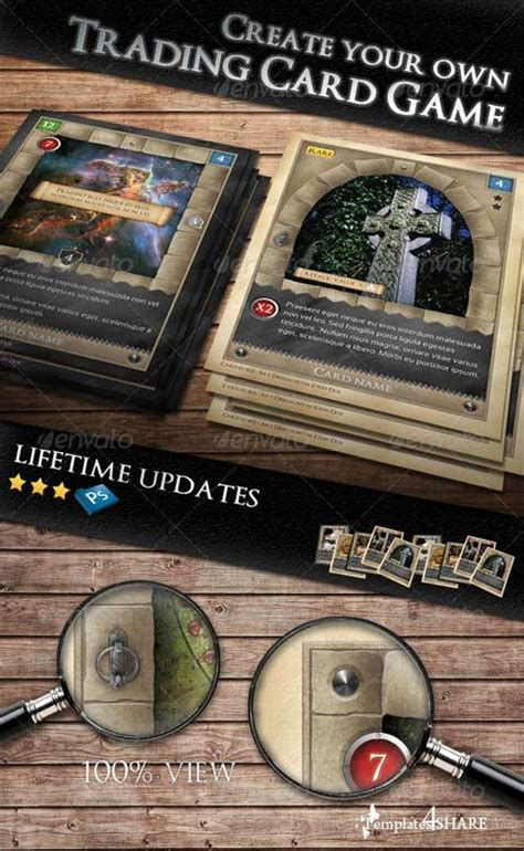 printable trading card games graphicriver tcg fantasy trading card game kit in