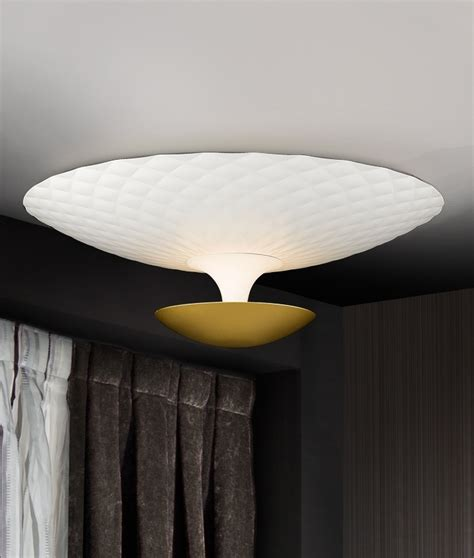 Indirect Ceiling Light White And Gold Flush Ceiling Light With Indirect Light Distribution