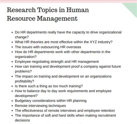 human resource management dissertation what are some research title and topic in human
