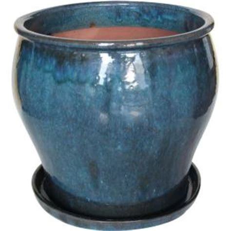 Ceramic Planters Home Depot by 16 In Ceramic Solid Dmg Blue Studio Planter Db10021 16j