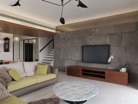 living room wall tiles batu alam dinding tv wood ceiling ruang keluarga