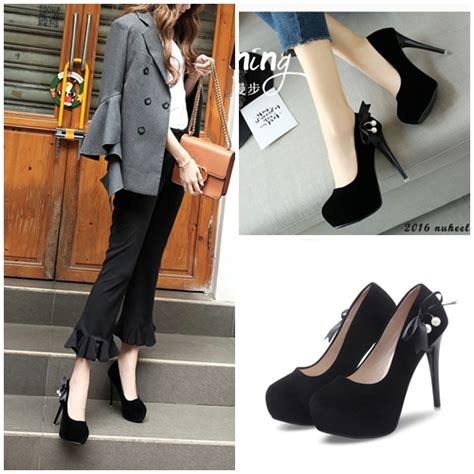 jual shh6001 black sepatu heels cantik 12cm grosirimpor