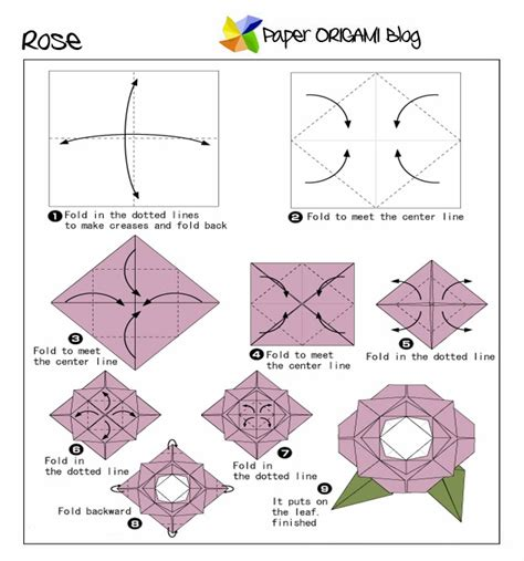 Origami Flower Diagrams - flowers origami paper origami guide