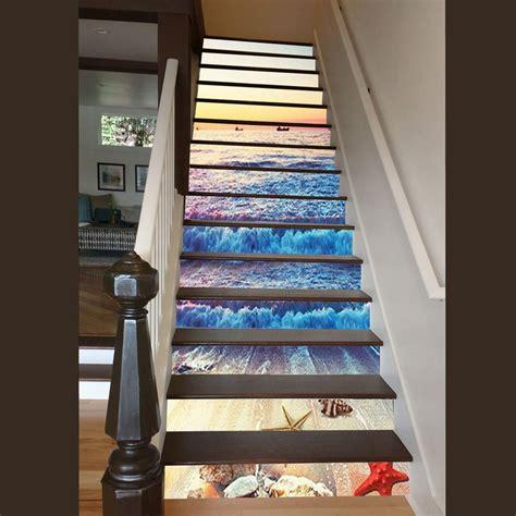sunset  sea wave  waterproof staircase stickerswall