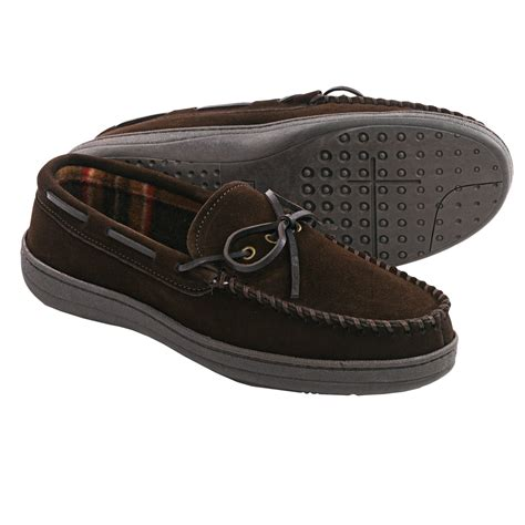 clarks slippers mens clarks plaid suede moccasin slippers fleece lined for