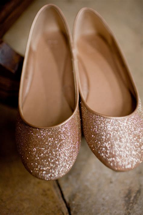 Gold Flat Bridal Shoes by Gold Glitter Flat Wedding Shoes Elizabeth Designs