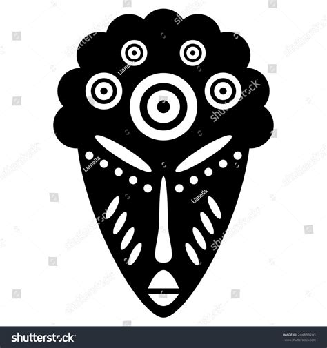african masks isolated on white vector icons for tribal