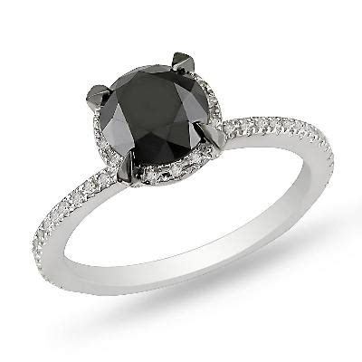 2 ct t w enhanced black and white solitaire ring