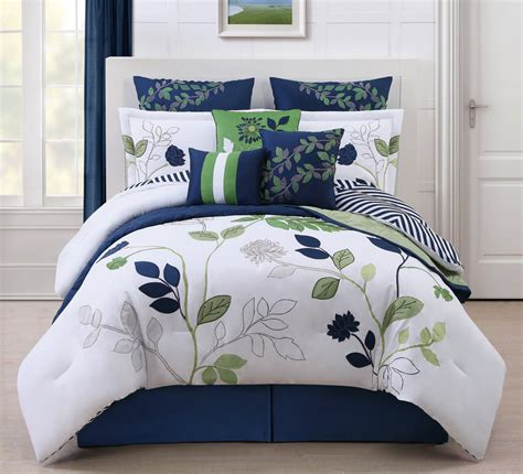 beauteous bedroom design with navy white green comforter