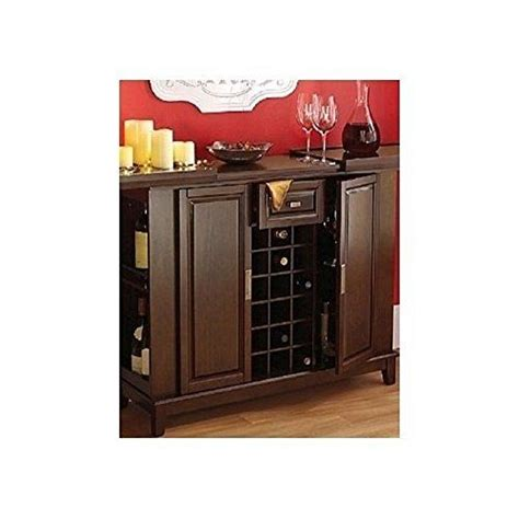 Entertainment Bar Cabinet Wine Bar Liquor Cabinet Expanding Top Entertainment Center Buffet Server Walnut Finish