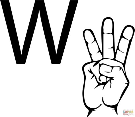 asl alphabet coloring pages asl sign language letter w coloring page free printable