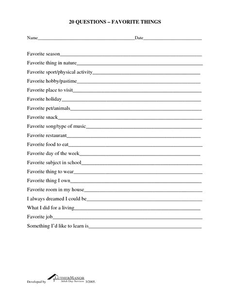 uncategorized my favorite things worksheet