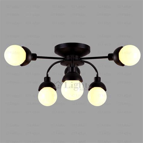Simple 6 Light Wrought Iron Black Ceiling Light Black Iron Ceiling Lights