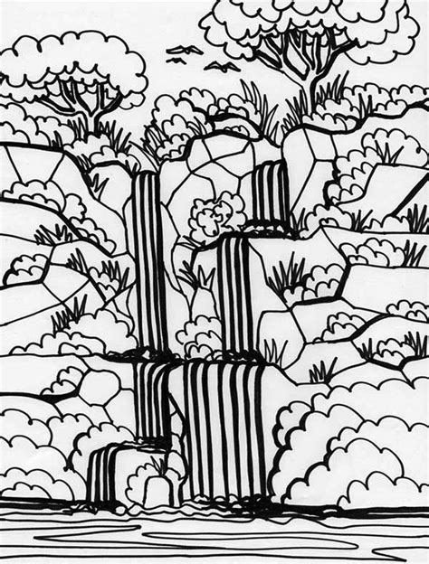 waterfall coloring pages rainforest rainforest and waterfalls coloring page