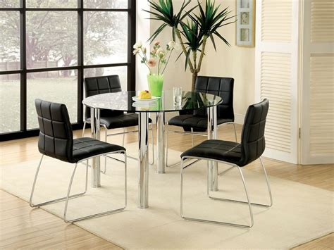 Glass Dining Table Set 4 Chairs 5pc Kona Glass Top Dining Table Set Bold Chrome Legs 4 Chairs
