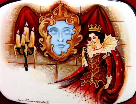 russian painted lacquer trinket box snow white evil