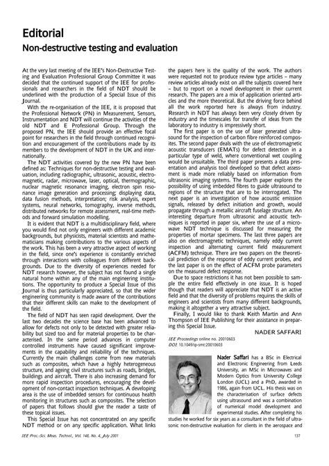 (PDF) Non-destructive testing and evaluation