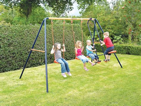 kids on swings childrens kids robust metal outdoor garden double swing