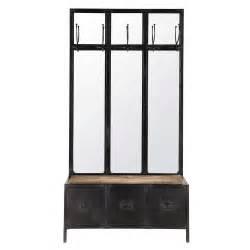 meuble d entr 233 e avec miroir en m 233 tal noir l 100 cm