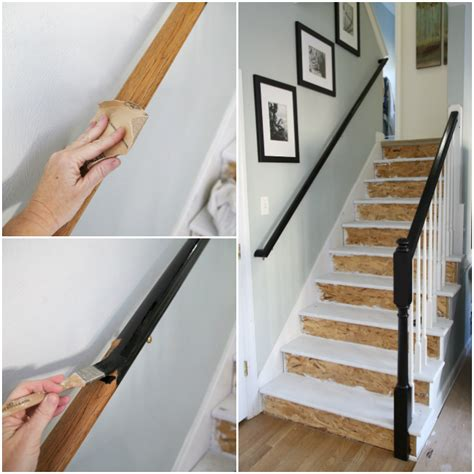 Staining Stair Banister by Painted Staircase Makeover With Seagrass Stair Runner