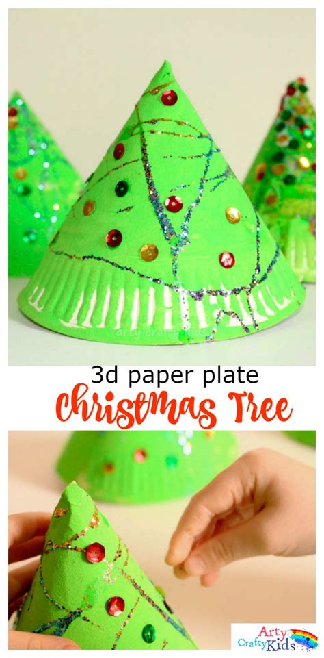 christmas tree crafts for preschool 3d paper plate tree craft